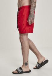 Pánske kúpacie kraťase Urban Classics Embroidery Swim Shorts leaf/firered/navy #1