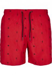 Pánske kúpacie kraťase Urban Classics Embroidery Swim Shorts leaf/firered/navy #5