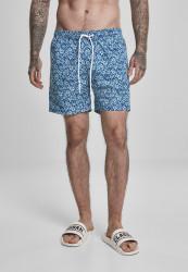 Pánske kúpacie kraťase URBAN CLASSICS Floral Swim Shorts navy