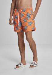 Pánske kúpacie kraťase URBAN CLASSICS Floral Swim Shorts orange