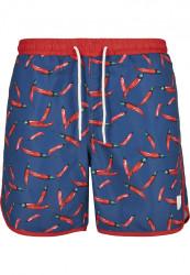 Pánske kúpacie kraťase Urban Classics Pattern Retro Swim Shorts pepperoni aop
