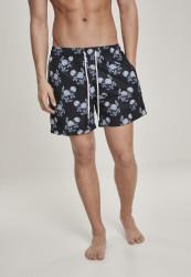 Pánske kúpacie kraťase Urban Classics Pattern Swim Shorts black/rose