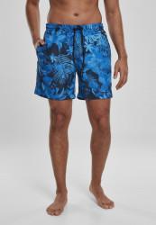 Pánske kúpacie kraťase Urban Classics Pattern Swim Shorts blue flower
