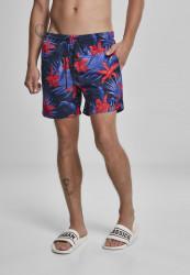 Pánske kúpacie kraťase Urban Classics Pattern Swim Shorts blue/red