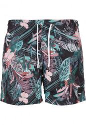 Pánske kúpacie kraťase Urban Classics Pattern Swim Shorts dark flower aop
