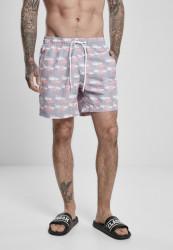 Pánske kúpacie kraťase Urban Classics Pattern Swim Shorts flamingo aop