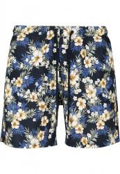 Pánske kúpacie kraťase Urban Classics Pattern Swim Shorts hibiscus #5