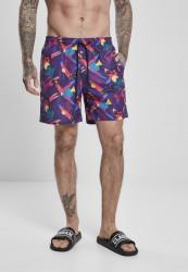 Pánske kúpacie kraťase Urban Classics Pattern Swim Shorts miami aop