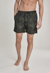 Pánske kúpacie kraťase Urban Classics Pattern Swim Shorts palm/olive