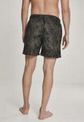 Pánske kúpacie kraťase Urban Classics Pattern Swim Shorts palm/olive #2