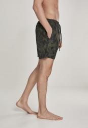 Pánske kúpacie kraťase Urban Classics Pattern Swim Shorts palm/olive #3