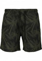 Pánske kúpacie kraťase Urban Classics Pattern Swim Shorts palm/olive #5