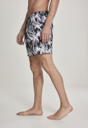 Pánske kúpacie kraťase Urban Classics Pattern Swim Shorts palm/white #1