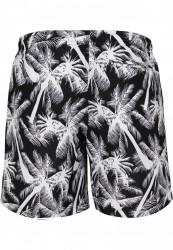 Pánske kúpacie kraťase Urban Classics Pattern Swim Shorts palm/white #6