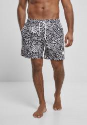 Pánske kúpacie kraťase Urban Classics Pattern Swim Shorts signs aop