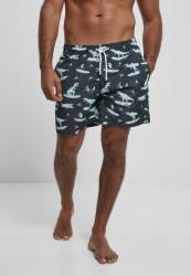 Pánske kúpacie kraťase Urban Classics Pattern Swim Shorts surfing t-rex aop