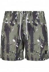 Pánske kúpacie kraťase Urban Classics Pattern Swim Shorts white dot camo aop