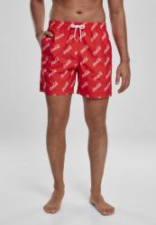 Pánske kúpacie kratasy MERCHCODE Coca Cola Logo AOP Swimshorts Farba: red,