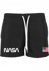 Pánske kúpacie kraťasy MR.TEE NASA Worm Logo Swim Shorts Farba: black,