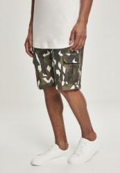 Pánske maskáčové kraťasy Urban Classics Geometric Camo Stretch Twill Cargo Shorts wood camo