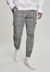 Pánske nohavice Urban Classics AOP Glencheck Cargo Jog Pants white/black