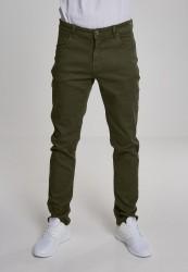 Pánske nohavice URBAN CLASSICS Basic Stretch Twill 5 Pocket olivové