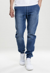 Pánske nohavice URBAN CLASSICS Knitted Denim blue washed