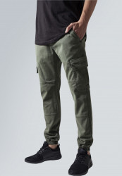 Pánske nohavice URBAN CLASSICS Washed Cargo Twill Jogging Pants olive