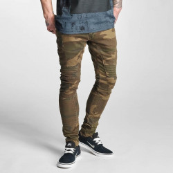 Pánske rifle 2Y Slim Fit Jeans Brown Camouflage Size: 30