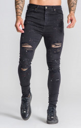 Pánske rifle GIANNI KAVANAGH Black Jeans With Red And White Splatts