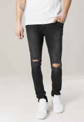 Pánske rifle URBAN CLASSICS Slim Fit Knee Cut Denim Pants black washed