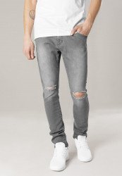 Pánske rifle URBAN CLASSICS Slim Fit Knee Cut Denim Pants šedé