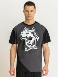 Pánske sivočierne Amstaff Smash T-Shirt Size: 3XL
