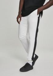 Pánske šušťákové nohavice URBAN CLASSICS Side Striped Crinkle Track Pants wht/blk
