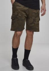 Pánske teplákové  kraťasy Urban Classics Camo Cargo Terry Shorts olive camo