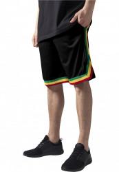 Pánske teplákové kraťasy URBAN CLASSICS Stripes Mesh Shorts blkrasta