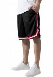 Pánske teplákové kraťasy URBAN CLASSICS Stripes Mesh Shorts blkredwht