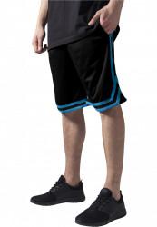 Pánske teplákové kraťasy URBAN CLASSICS Stripes Mesh Shorts blkturblk