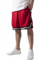 Pánske teplákové kraťasy URBAN CLASSICS Stripes Mesh Shorts redblkwht