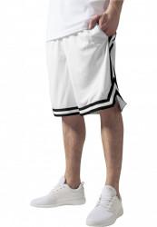 Pánske teplákové kraťasy URBAN CLASSICS Stripes Mesh Shorts whtblkwht