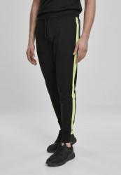 Pánske tepláky URBAN CLASSICS Neon Striped Sweatpants black/electriclime