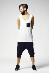 Pánske tielko URBAN CLASSICS Leather Imitation Pocket Loose Tank white