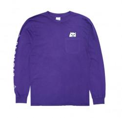 Pánske tričko RIPNDIP Lord Nermal Pocket Tee Long Sleeve purple