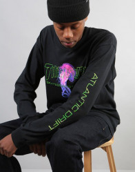 Pánske tričko s dlhým rukávom THRASHER Atlantic drift L/S čierne