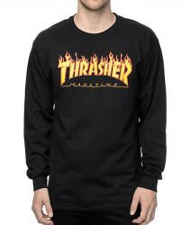 Pánske tričko s dlhým rukávom THRASHER Flame L/S čierne