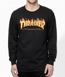 Pánske tričko s dlhým rukávom Thrasher Flame Logo Longsleeve black Farba: Čierna,