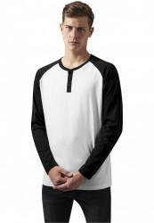 Pánske tričko s dlhým rukávom URBAN CLASSICS Contrast Raglan Henley L/S wht/blk