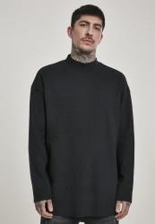 Pánske tričko s dlhým rukávom URBAN CLASSICS Peached Open Edge Interlock Winter LS black