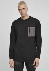Pánske tričko s dlhým rukívom URBAN CLASSICS Boxy Big Contrast Pocket LS black