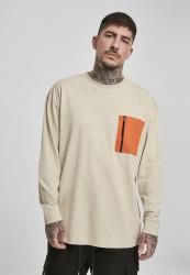 Pánske tričko s dlhým rukívom URBAN CLASSICS Boxy Big Contrast Pocket LS concrete